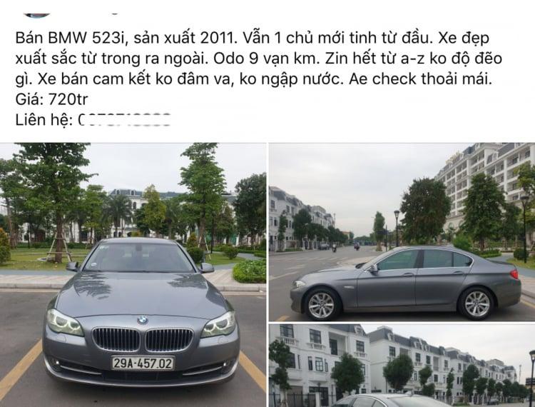 Xe sang BMW 523i có giá ngang Hyundai Elantra sau 10 năm sử dụng